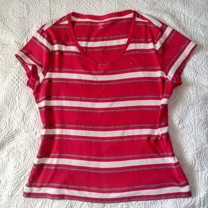 Tommy Hilfiger v-neck striped tee, XL